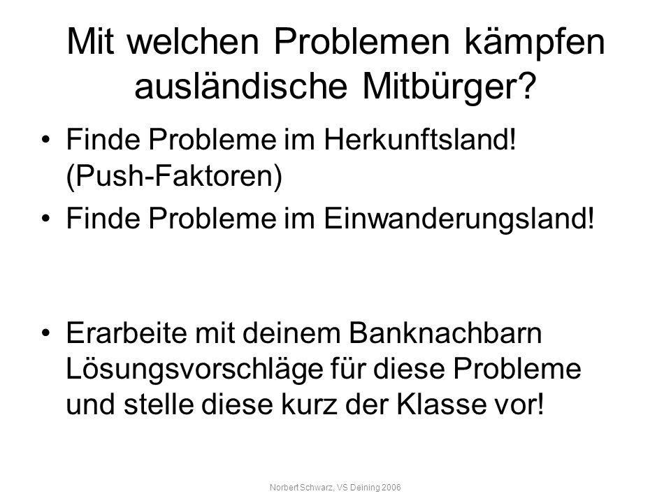 Norbert Schwarz, VS Deining 2006 Mit welchen Problemen kämpfen ausländische Mitbürger? Finde Probleme im Herkunftsland! (Push-Faktoren) Finde Probleme