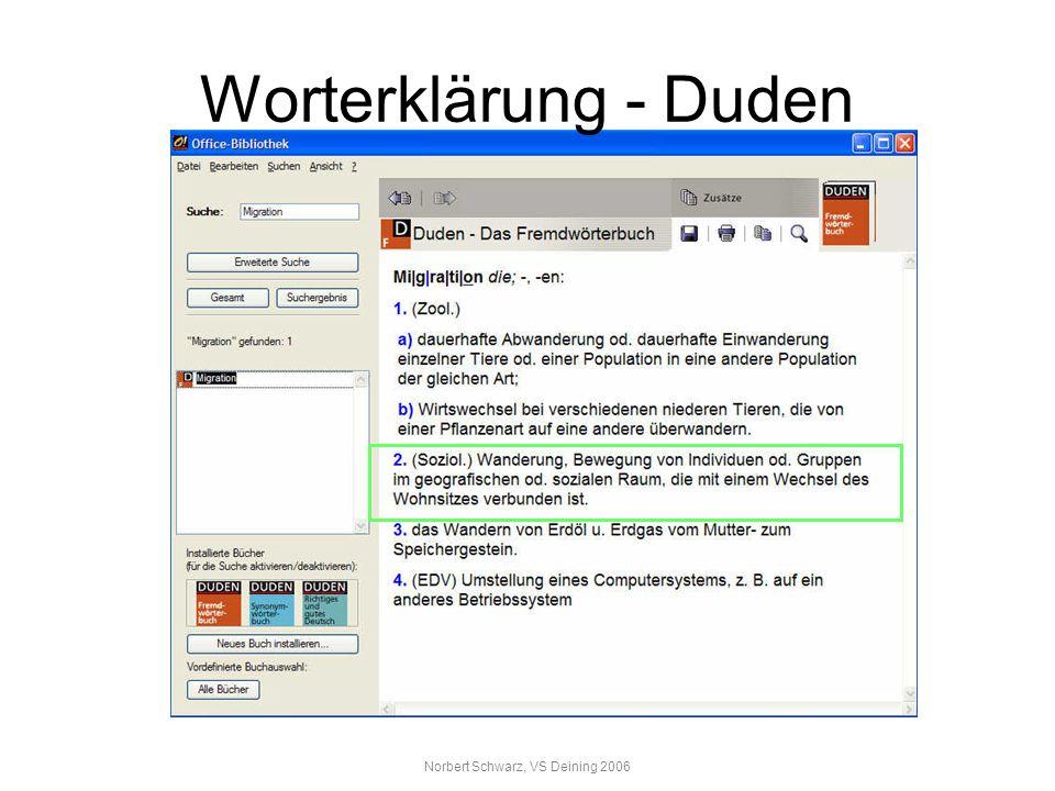 Norbert Schwarz, VS Deining 2006 Worterklärung - Duden