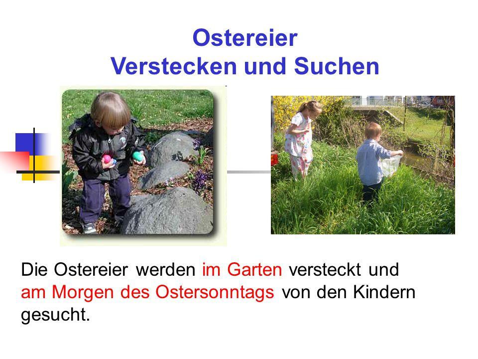 Ostereier Verstecken und Suchen Die Ostereier werden im Garten versteckt und am Morgen des Ostersonntags von den Kindern gesucht.