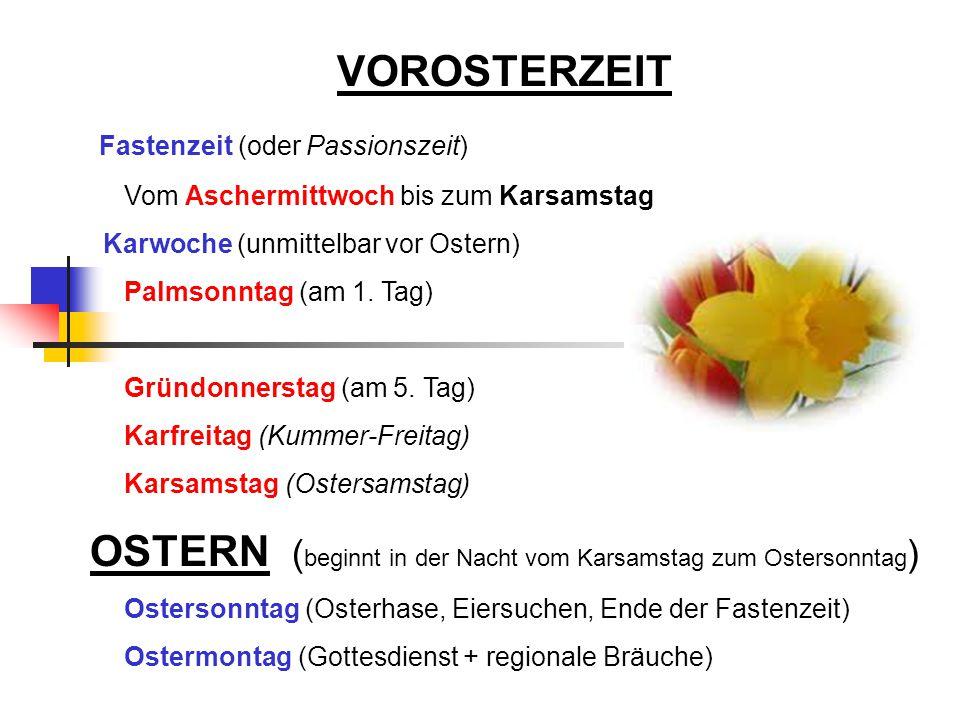 VOROSTERZEIT Fastenzeit (oder Passionszeit) Vom Aschermittwoch bis zum Karsamstag Karwoche (unmittelbar vor Ostern) Palmsonntag (am 1.