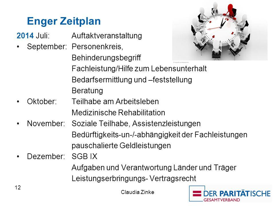 Enger Zeitplan 2014 Juli: Auftaktveranstaltung September: Personenkreis, Behinderungsbegriff Fachleistung/Hilfe zum Lebensunterhalt Bedarfsermittlung
