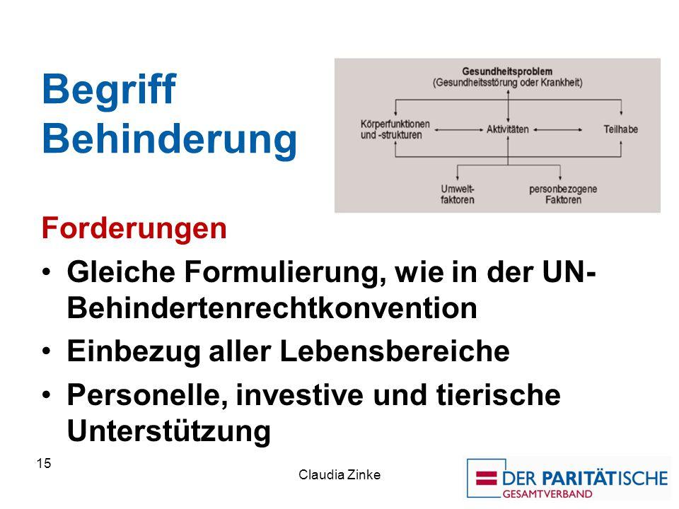 Begriff Behinderung Forderungen Gleiche Formulierung, wie in der UN- Behindertenrechtkonvention Einbezug aller Lebensbereiche Personelle, investive un