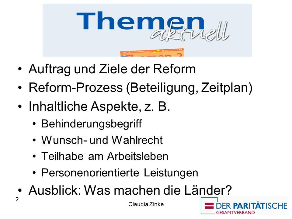 Die Themen Auftrag und Ziele der Reform Reform-Prozess (Beteiligung, Zeitplan) Inhaltliche Aspekte, z. B. Behinderungsbegriff Wunsch- und Wahlrecht Te
