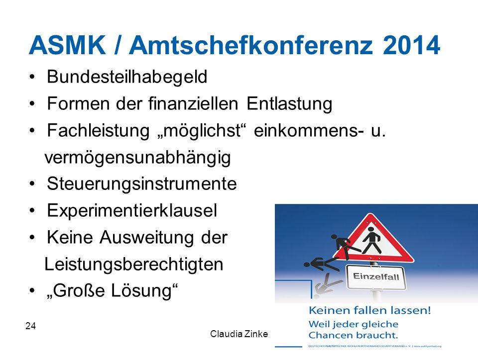 """ASMK / Amtschefkonferenz 2014 Bundesteilhabegeld Formen der finanziellen Entlastung Fachleistung """"möglichst"""" einkommens- u. vermögensunabhängig Steuer"""