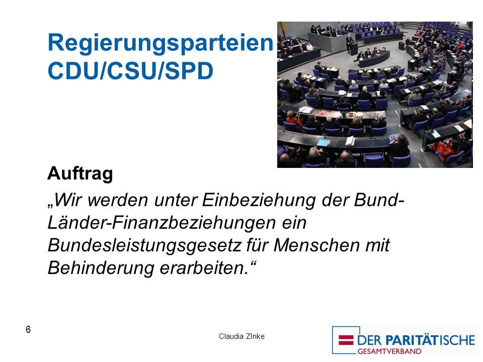 """Claudia ZInke 6 Regierungsparteien CDU/CSU/SPD Auftrag """"Wir werden unter Einbeziehung der Bund- Länder-Finanzbeziehungen ein Bundesleistungsgesetz für"""