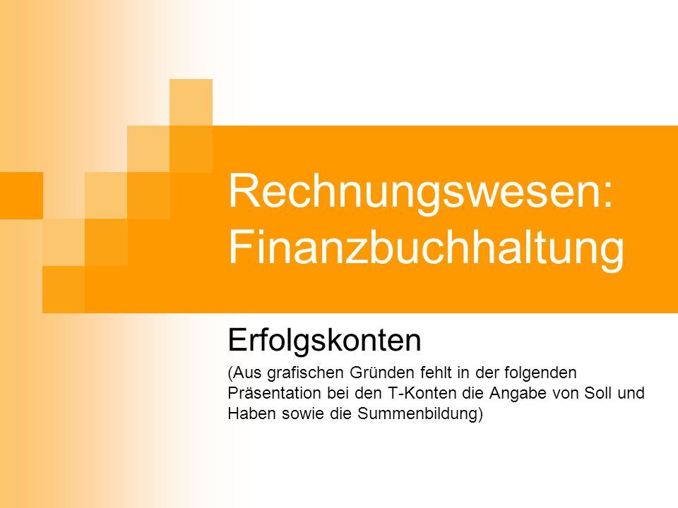 Rechnungswesen: Finanzbuchhaltung Erfolgskonten (Aus grafischen Gründen fehlt in der folgenden Präsentation bei den T-Konten die Angabe von Soll und H