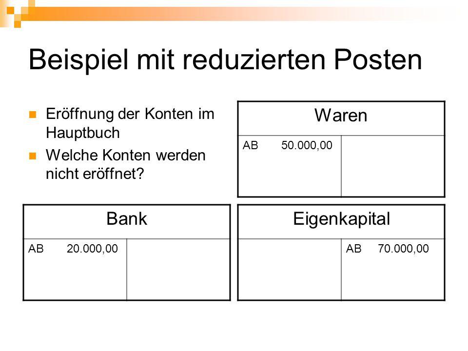 Beispiel mit reduzierten Posten Eröffnung der Konten im Hauptbuch Welche Konten werden nicht eröffnet? Waren AB 50.000,00 Bank AB 20.000,00 Eigenkapit