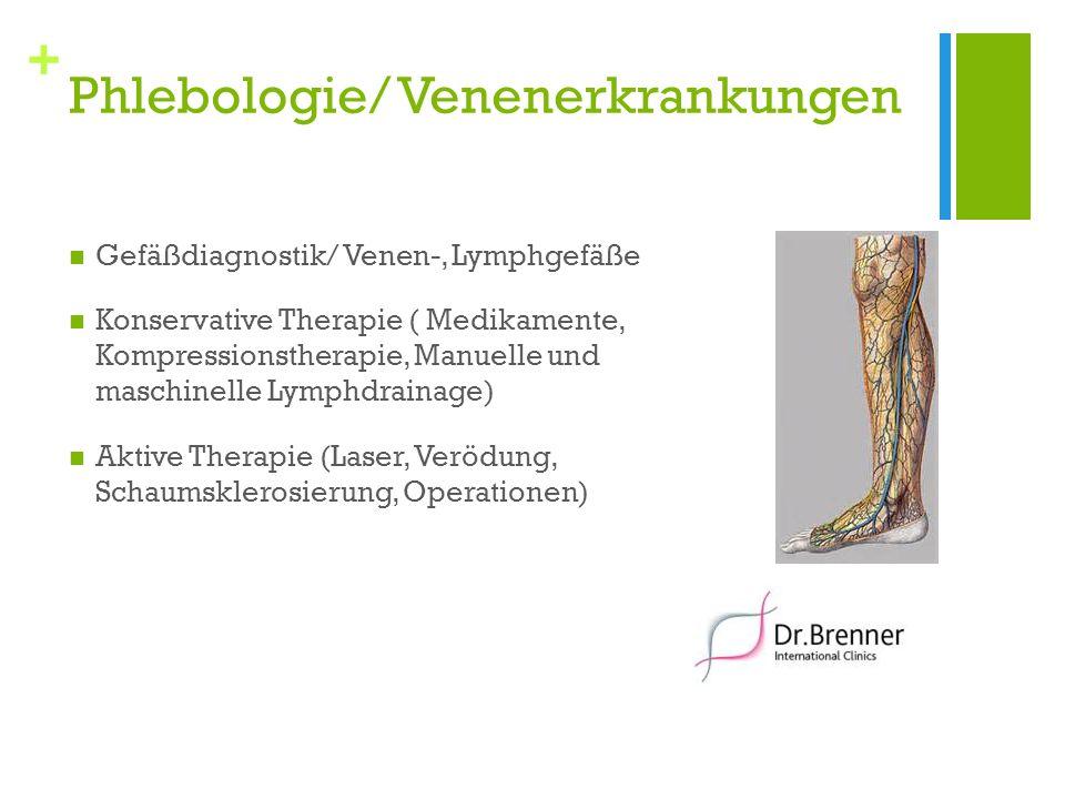 + Phlebologie/ Venenerkrankungen Gefäßdiagnostik/ Venen-, Lymphgefäße Konservative Therapie ( Medikamente, Kompressionstherapie, Manuelle und maschine