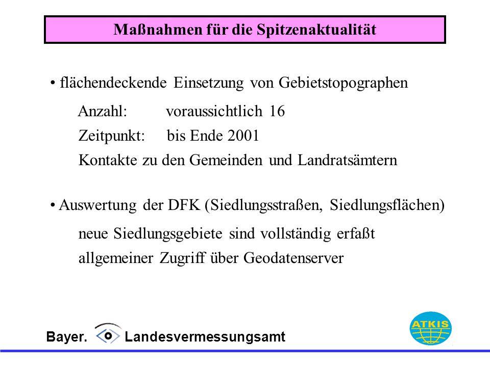 Bayer. Landesvermessungsamt flächendeckende Einsetzung von Gebietstopographen Maßnahmen für die Spitzenaktualität Auswertung der DFK (Siedlungsstraßen