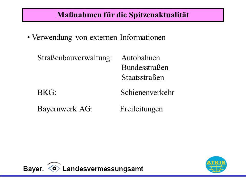 Bayer. Landesvermessungsamt Maßnahmen für die Spitzenaktualität Verwendung von externen Informationen BKG: Schienenverkehr Straßenbauverwaltung: Autob