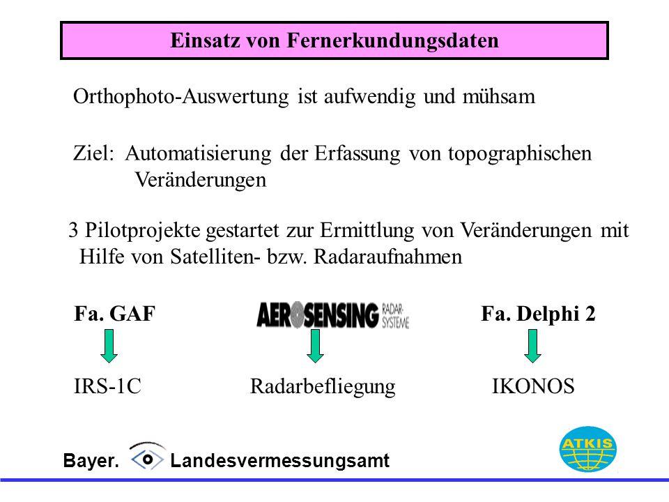 Bayer. Landesvermessungsamt Orthophoto-Auswertung ist aufwendig und mühsam 3 Pilotprojekte gestartet zur Ermittlung von Veränderungen mit Hilfe von Sa