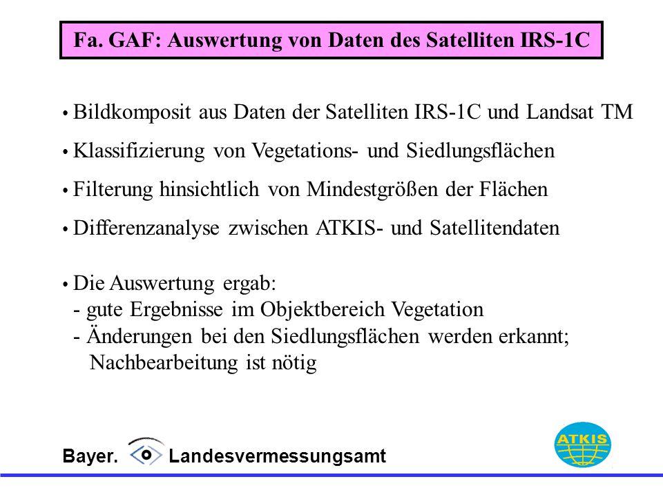 Bayer. Landesvermessungsamt Bildkomposit aus Daten der Satelliten IRS-1C und Landsat TM Klassifizierung von Vegetations- und Siedlungsflächen Filterun