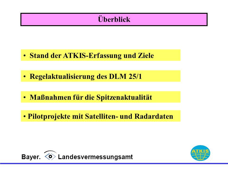 Bayer. Landesvermessungsamt Stand der ATKIS-Erfassung und Ziele Regelaktualisierung des DLM 25/1 Maßnahmen für die Spitzenaktualität Pilotprojekte mit