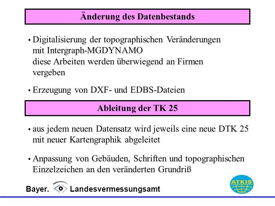 Bayer. Landesvermessungsamt Änderung des Datenbestands Digitalisierung der topographischen Veränderungen mit Intergraph-MGDYNAMO diese Arbeiten werden