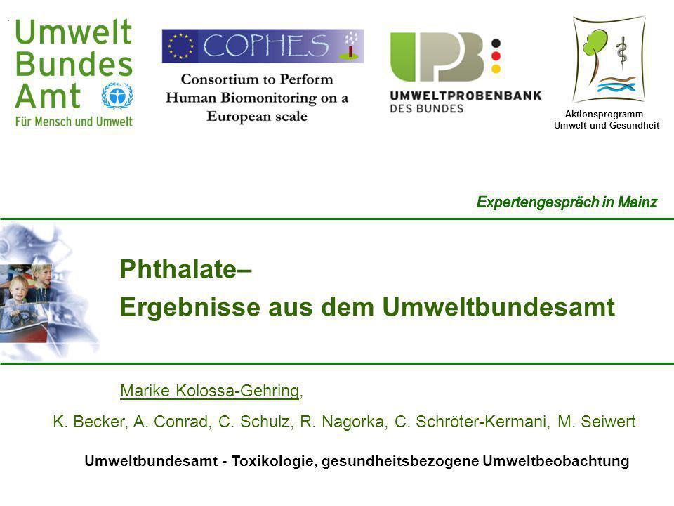 Aktionsprogramm Umwelt und Gesundheit Umweltbundesamt - Toxikologie, gesundheitsbezogene Umweltbeobachtung Marike Kolossa-Gehring, K. Becker, A. Conra