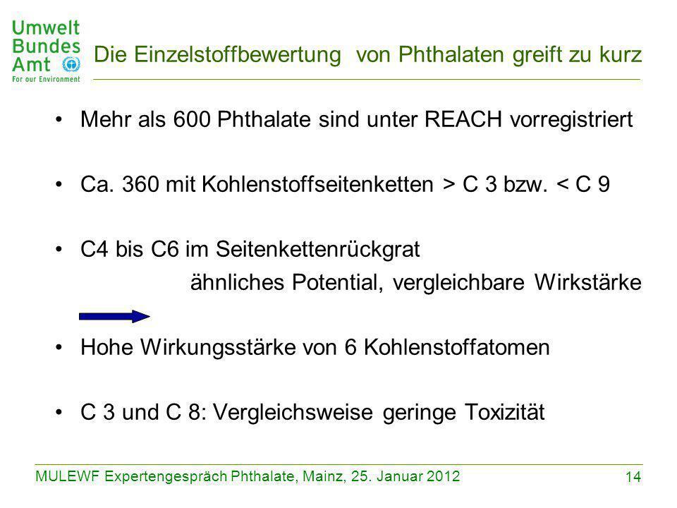 14 MULEWF Expertengespräch Phthalate, Mainz, 25. Januar 2012 Die Einzelstoffbewertung von Phthalaten greift zu kurz Mehr als 600 Phthalate sind unter