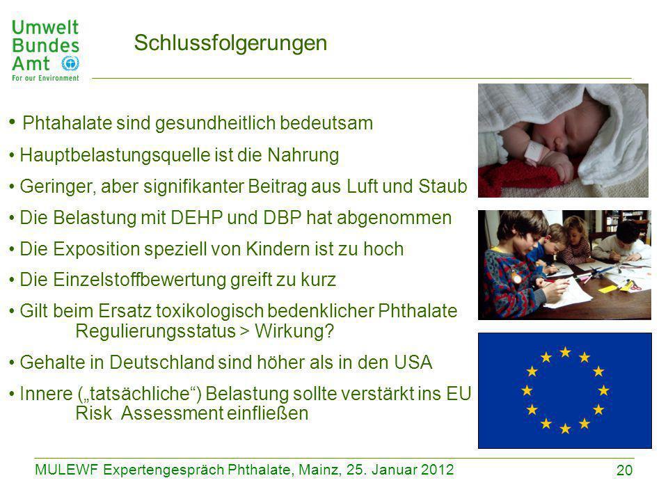 20 MULEWF Expertengespräch Phthalate, Mainz, 25. Januar 2012 Schlussfolgerungen Phtahalate sind gesundheitlich bedeutsam Hauptbelastungsquelle ist die