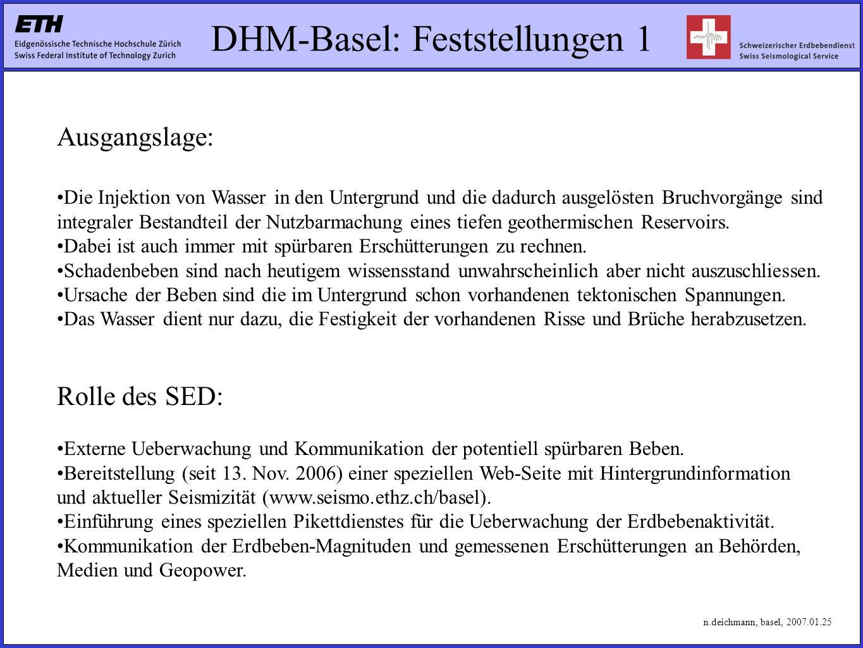 DHM-Basel: Feststellungen 1 Ausgangslage: Die Injektion von Wasser in den Untergrund und die dadurch ausgelösten Bruchvorgänge sind integraler Bestandteil der Nutzbarmachung eines tiefen geothermischen Reservoirs.