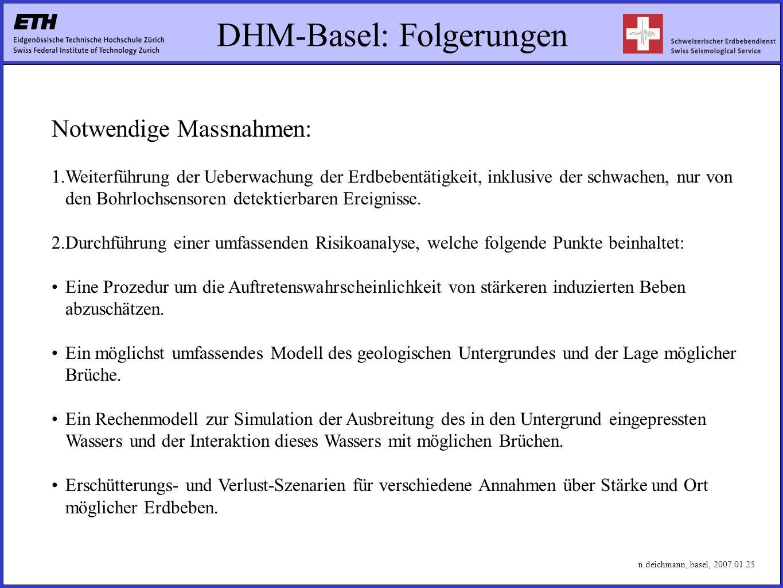 DHM-Basel: Folgerungen Notwendige Massnahmen: 1.Weiterführung der Ueberwachung der Erdbebentätigkeit, inklusive der schwachen, nur von den Bohrlochsensoren detektierbaren Ereignisse.
