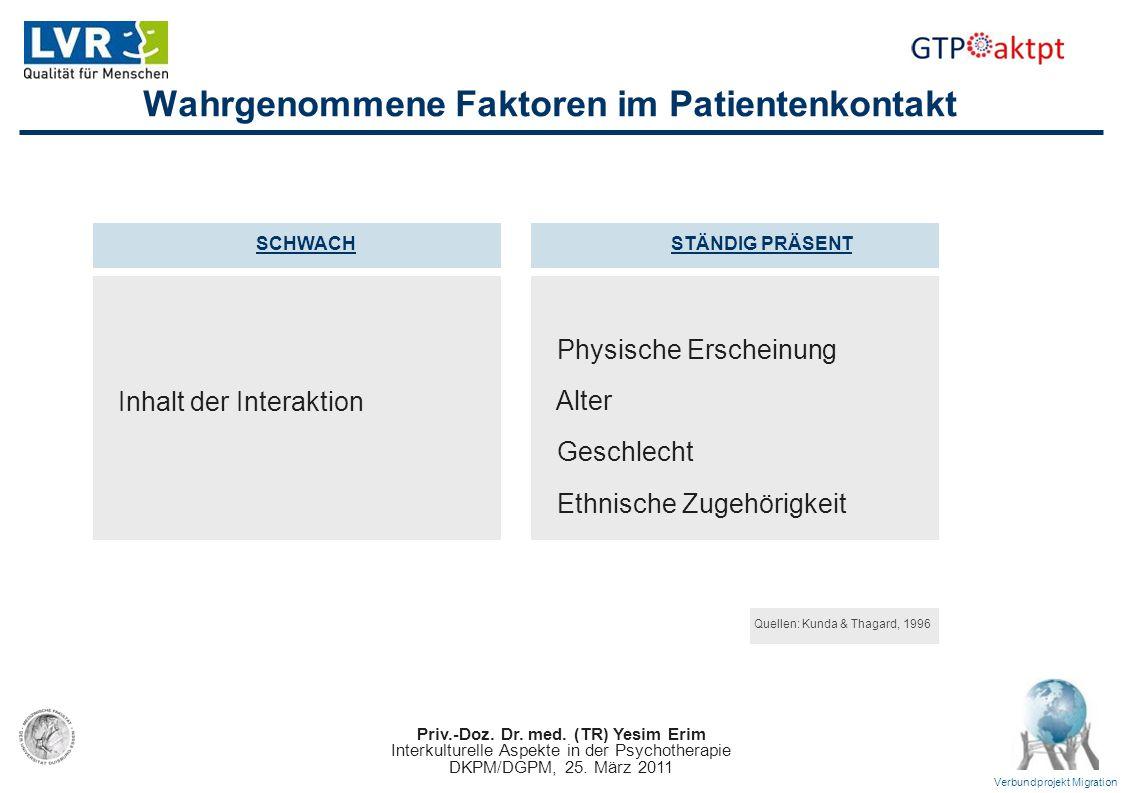 Priv.-Doz. Dr. med. (TR) Yesim Erim Interkulturelle Aspekte in der Psychotherapie DKPM/DGPM, 25. März 2011 Verbundprojekt Migration Wahrgenommene Fakt