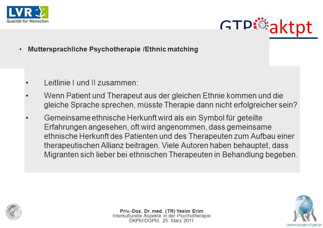 Priv.-Doz. Dr. med. (TR) Yesim Erim Interkulturelle Aspekte in der Psychotherapie DKPM/DGPM, 25. März 2011 Verbundprojekt Migration Leitlinie I und II