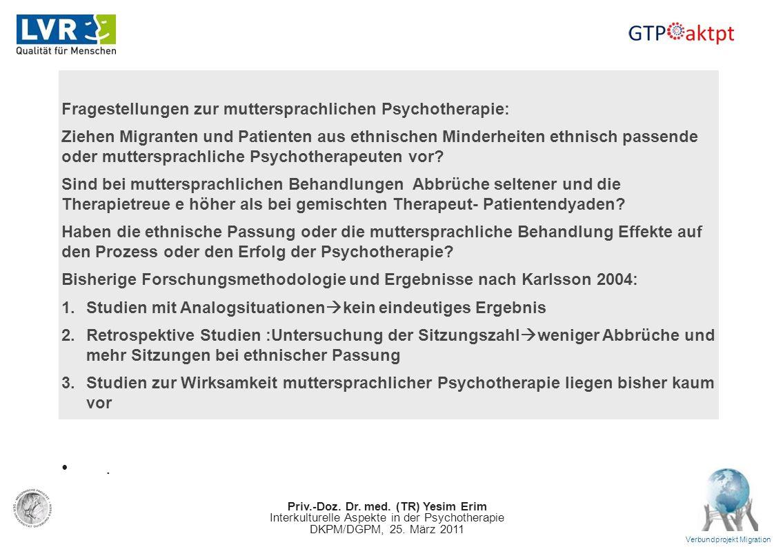 Priv.-Doz. Dr. med. (TR) Yesim Erim Interkulturelle Aspekte in der Psychotherapie DKPM/DGPM, 25. März 2011 Verbundprojekt Migration Fragestellungen zu