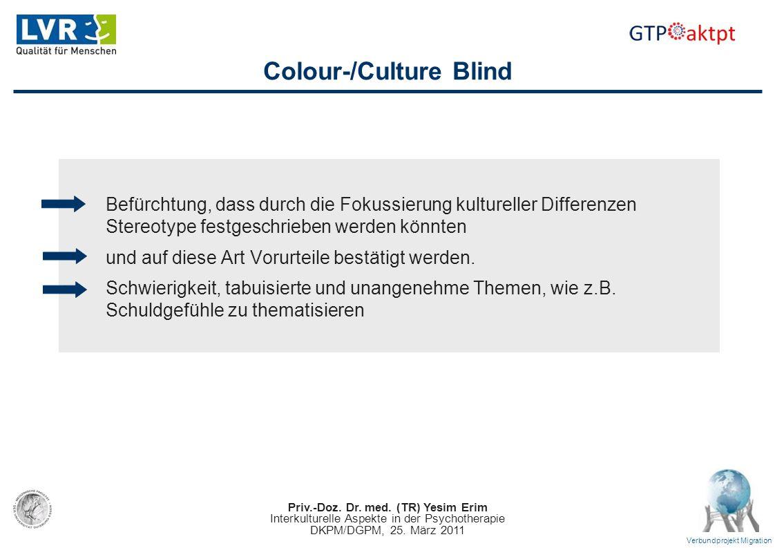 Priv.-Doz. Dr. med. (TR) Yesim Erim Interkulturelle Aspekte in der Psychotherapie DKPM/DGPM, 25. März 2011 Verbundprojekt Migration Colour-/Culture Bl