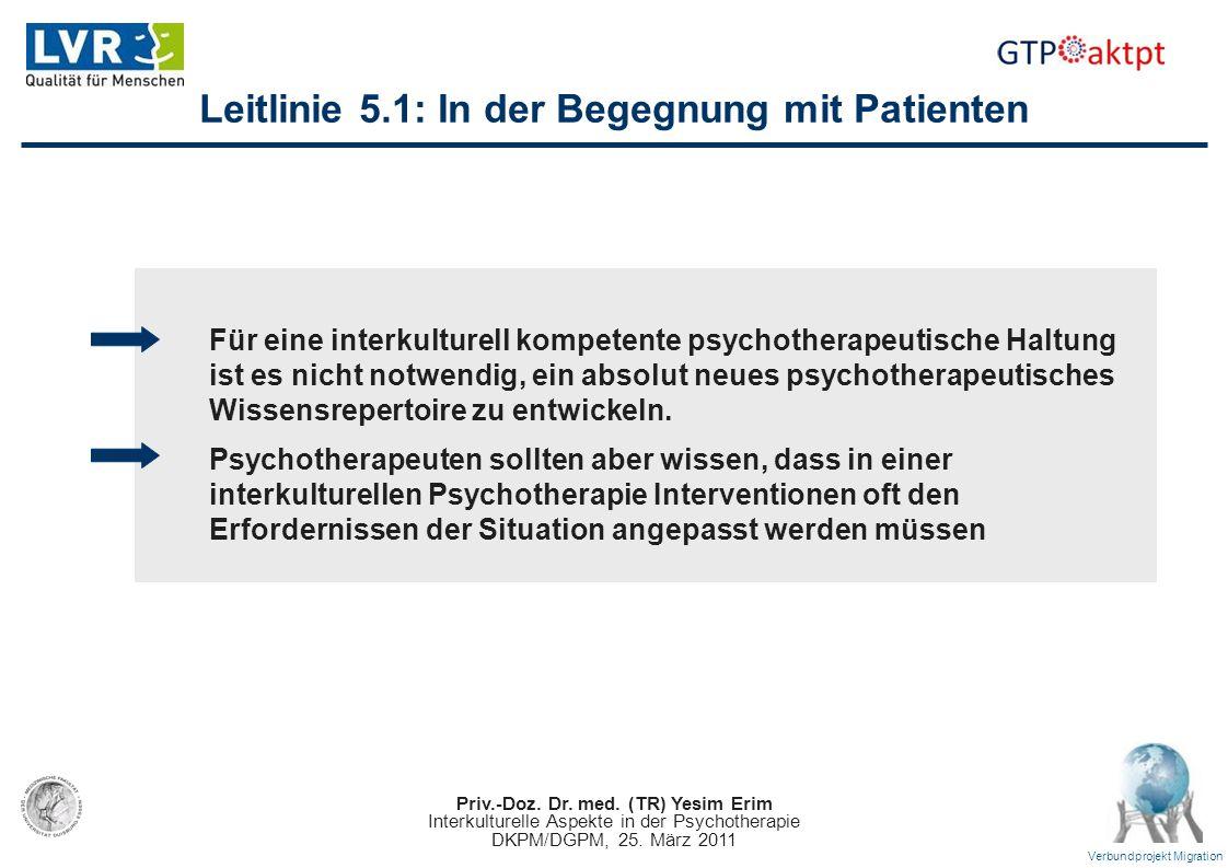 Priv.-Doz. Dr. med. (TR) Yesim Erim Interkulturelle Aspekte in der Psychotherapie DKPM/DGPM, 25. März 2011 Verbundprojekt Migration Leitlinie 5.1: In