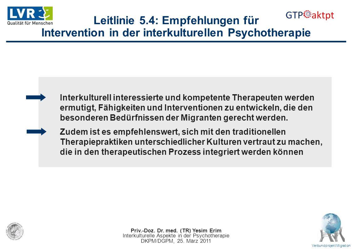 Priv.-Doz. Dr. med. (TR) Yesim Erim Interkulturelle Aspekte in der Psychotherapie DKPM/DGPM, 25. März 2011 Verbundprojekt Migration Leitlinie 5.4: Emp