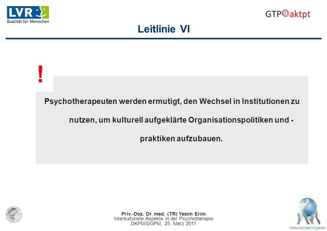 Priv.-Doz. Dr. med. (TR) Yesim Erim Interkulturelle Aspekte in der Psychotherapie DKPM/DGPM, 25. März 2011 Verbundprojekt Migration Leitlinie VI Psych