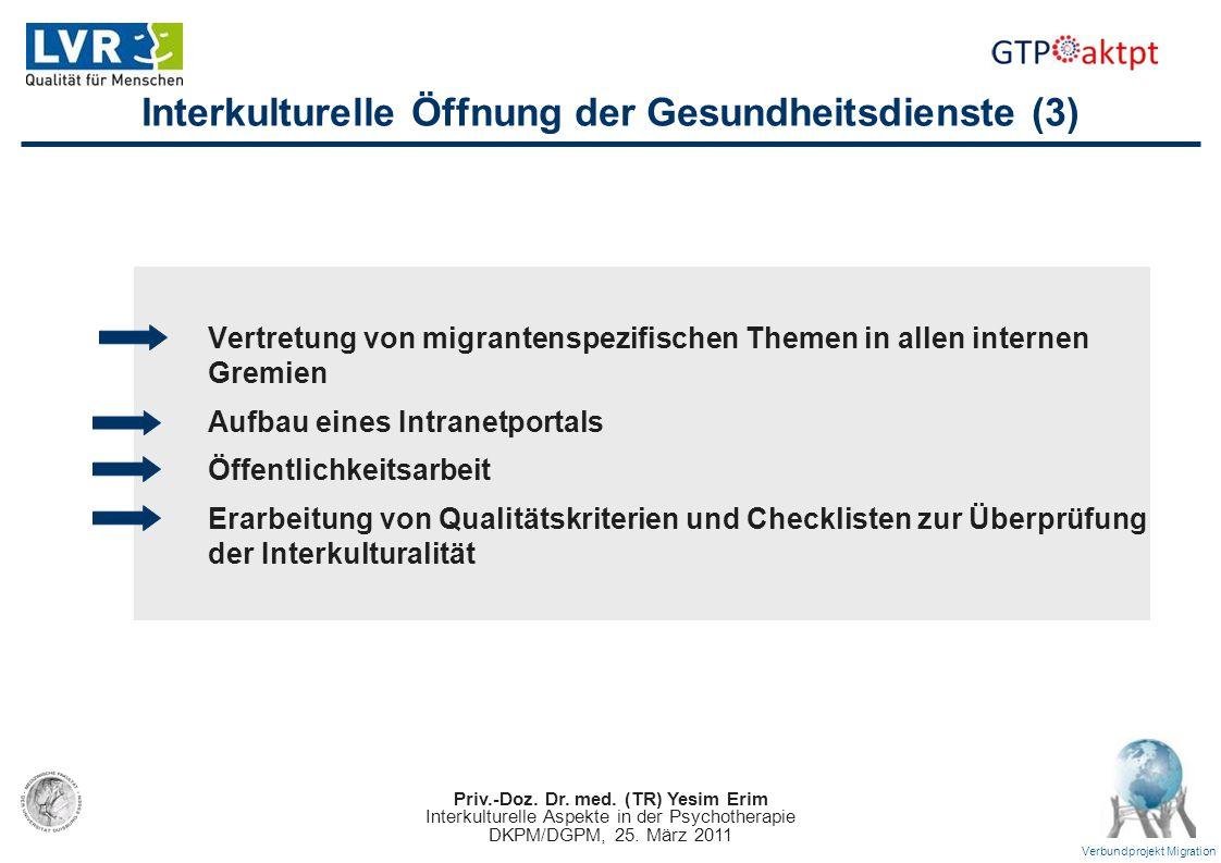Priv.-Doz. Dr. med. (TR) Yesim Erim Interkulturelle Aspekte in der Psychotherapie DKPM/DGPM, 25. März 2011 Verbundprojekt Migration Interkulturelle Öf