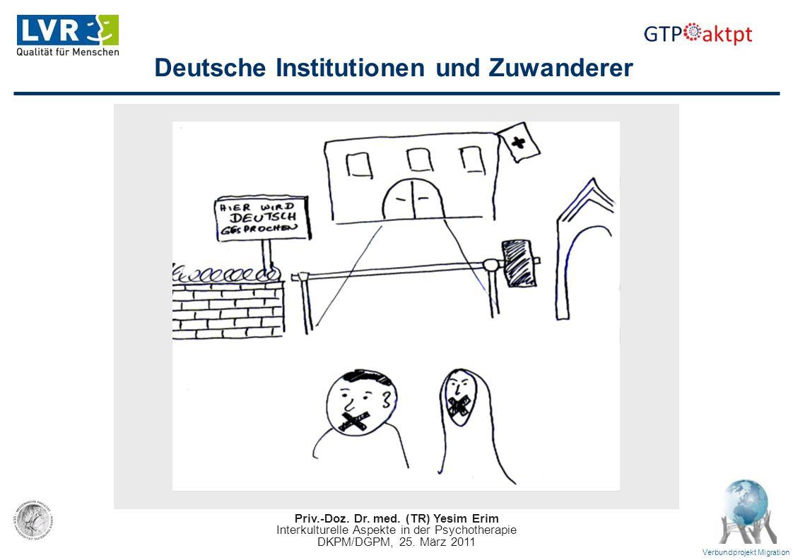Priv.-Doz. Dr. med. (TR) Yesim Erim Interkulturelle Aspekte in der Psychotherapie DKPM/DGPM, 25. März 2011 Verbundprojekt Migration Deutsche Instituti