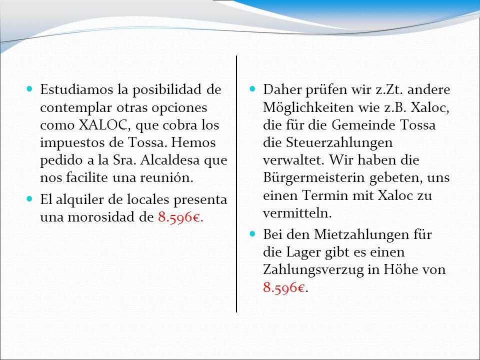 Estudiamos la posibilidad de contemplar otras opciones como XALOC, que cobra los impuestos de Tossa. Hemos pedido a la Sra. Alcaldesa que nos facilite