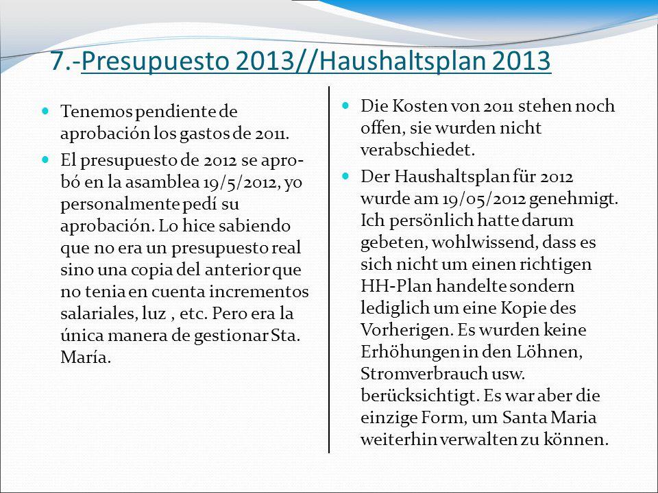 7.-Presupuesto 2013//Haushaltsplan 2013 Die Kosten von 2011 stehen noch offen, sie wurden nicht verabschiedet. Der Haushaltsplan für 2012 wurde am 19/