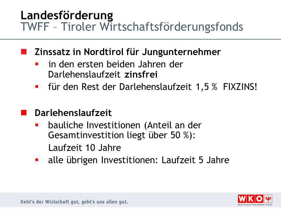 Landesförderung TWFF – Tiroler Wirtschaftsförderungsfonds Zinssatz in Nordtirol für Jungunternehmer  in den ersten beiden Jahren der Darlehenslaufzeit zinsfrei  für den Rest der Darlehenslaufzeit 1,5 % FIXZINS.