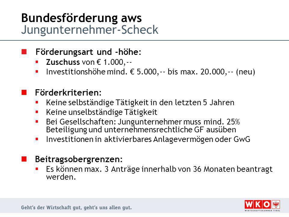 Bundesförderung aws Jungunternehmer-Scheck Förderungsart und -höhe:  Zuschuss von € 1.000,--  Investitionshöhe mind. € 5.000,-- bis max. 20.000,-- (