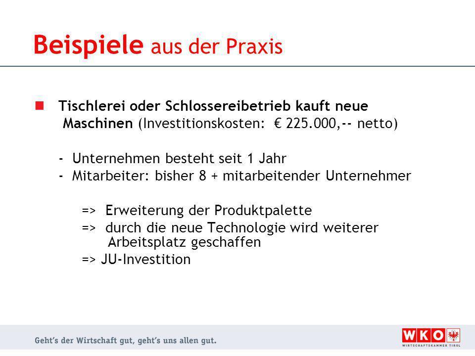 Tischlerei oder Schlossereibetrieb kauft neue Maschinen (Investitionskosten: € 225.000,-- netto) - Unternehmen besteht seit 1 Jahr - Mitarbeiter: bish