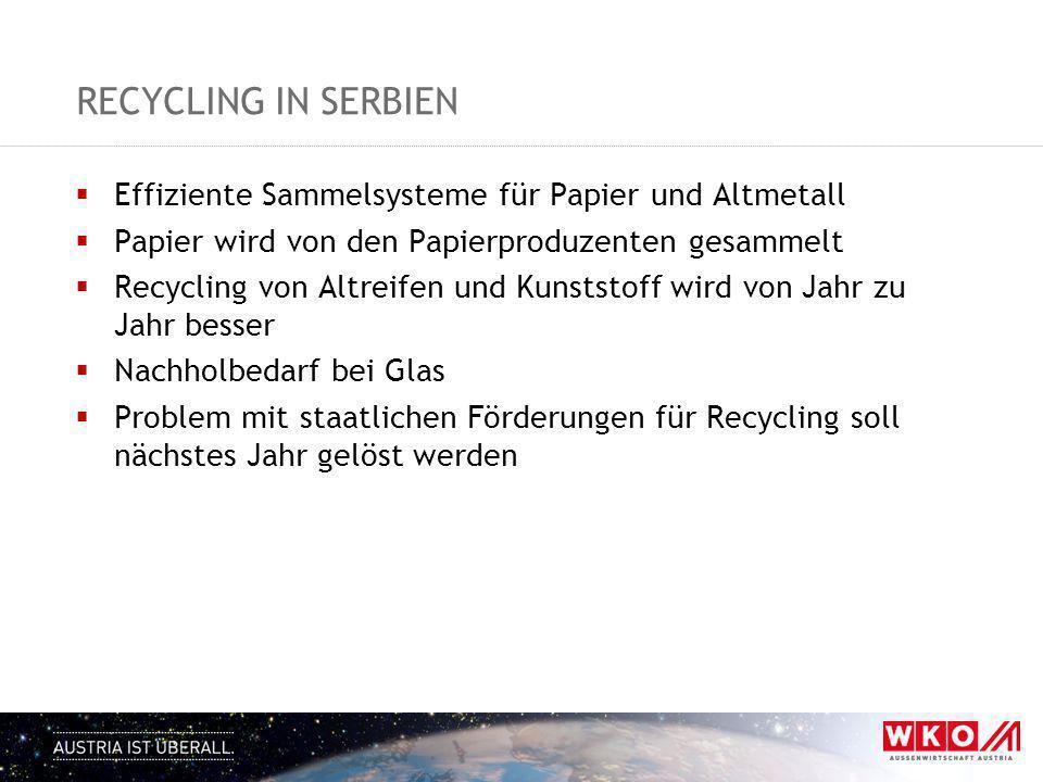 RECYCLING IN SERBIEN  Effiziente Sammelsysteme für Papier und Altmetall  Papier wird von den Papierproduzenten gesammelt  Recycling von Altreifen u