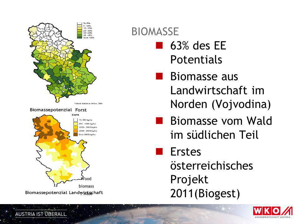 BIOMASSE 63% des EE Potentials Biomasse aus Landwirtschaft im Norden (Vojvodina) Biomasse vom Wald im südlichen Teil Erstes österreichisches Projekt 2