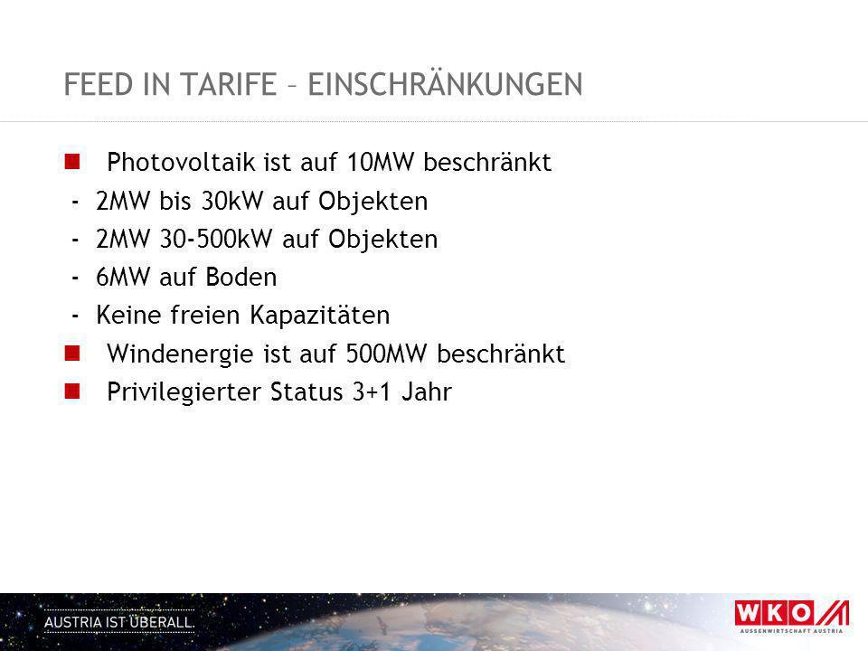 FEED IN TARIFE – EINSCHRÄNKUNGEN Photovoltaik ist auf 10MW beschränkt - 2MW bis 30kW auf Objekten - 2MW 30-500kW auf Objekten - 6MW auf Boden - Keine