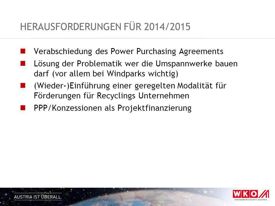 HERAUSFORDERUNGEN FÜR 2014/2015 Verabschiedung des Power Purchasing Agreements Lösung der Problematik wer die Umspannwerke bauen darf (vor allem bei W
