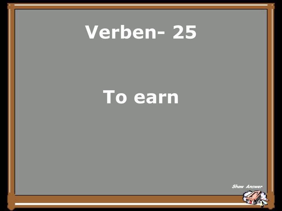 Verben- 20 dauern Back to Board