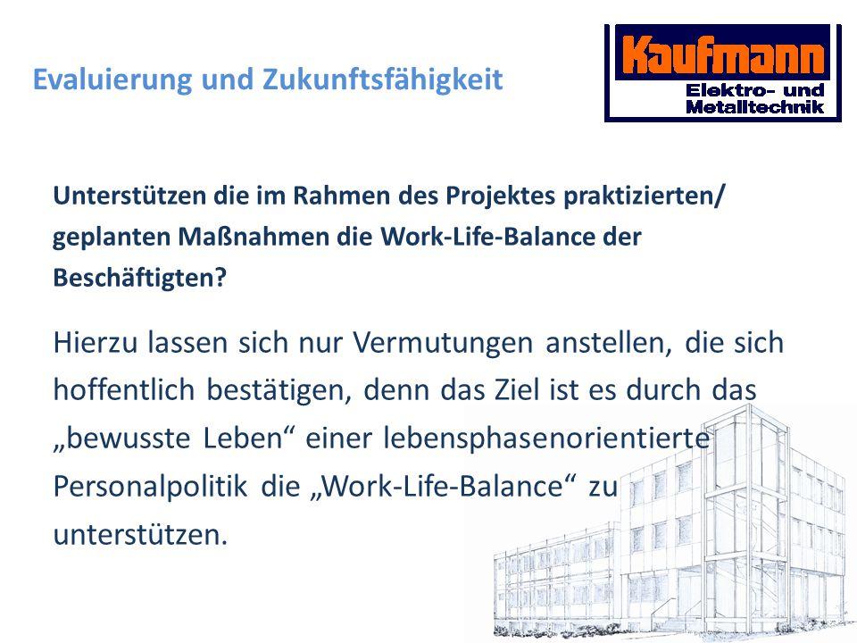 Evaluierung und Zukunftsfähigkeit Unterstützen die im Rahmen des Projektes praktizierten/ geplanten Maßnahmen die Work-Life-Balance der Beschäftigten?