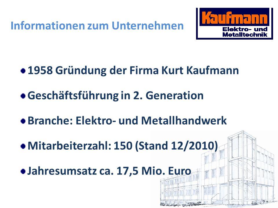 1958 Gründung der Firma Kurt Kaufmann Geschäftsführung in 2. Generation Branche: Elektro- und Metallhandwerk Mitarbeiterzahl: 150 (Stand 12/2010) Jahr