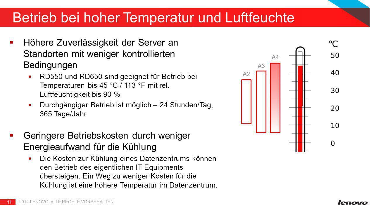 11 2014 LENOVO. ALLE RECHTE VORBEHALTEN. Betrieb bei hoher Temperatur und Luftfeuchte A4 A3 A2  Höhere Zuverlässigkeit der Server an Standorten mit w