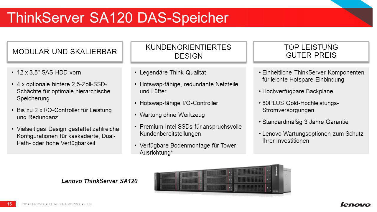 15 ThinkServer SA120 DAS-Speicher Lenovo ThinkServer SA120 MODULAR UND SKALIERBAR 2014 LENOVO. ALLE RECHTE VORBEHALTEN. KUNDENORIENTIERTES DESIGN TOP