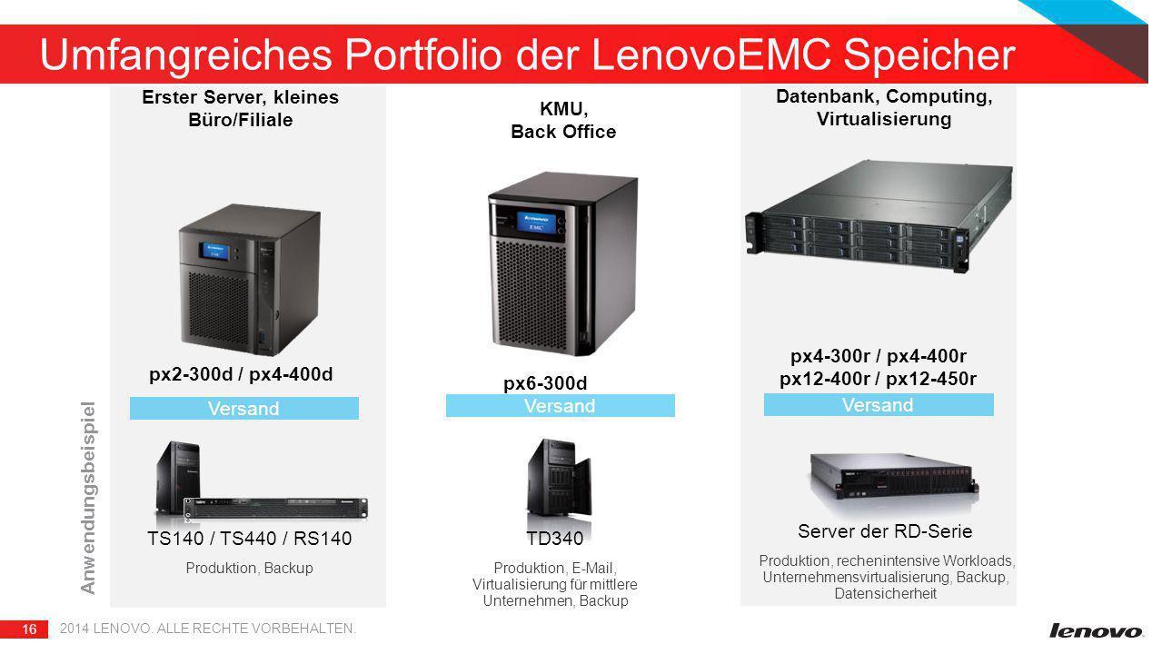 16 2014 LENOVO. ALLE RECHTE VORBEHALTEN. Umfangreiches Portfolio der LenovoEMC Speicher px6-300d px2-300d / px4-400d Versand Erster Server, kleines Bü