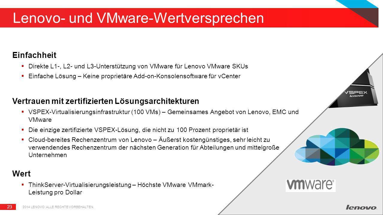 23 Lenovo- und VMware-Wertversprechen Einfachheit  Direkte L1-, L2- und L3-Unterstützung von VMware für Lenovo VMware SKUs  Einfache Lösung – Keine