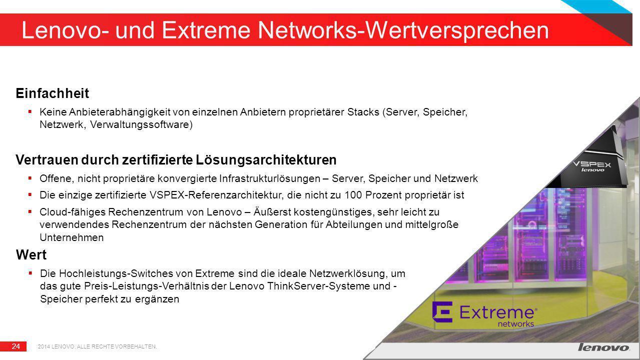 24 Lenovo- und Extreme Networks-Wertversprechen Einfachheit  Keine Anbieterabhängigkeit von einzelnen Anbietern proprietärer Stacks (Server, Speicher