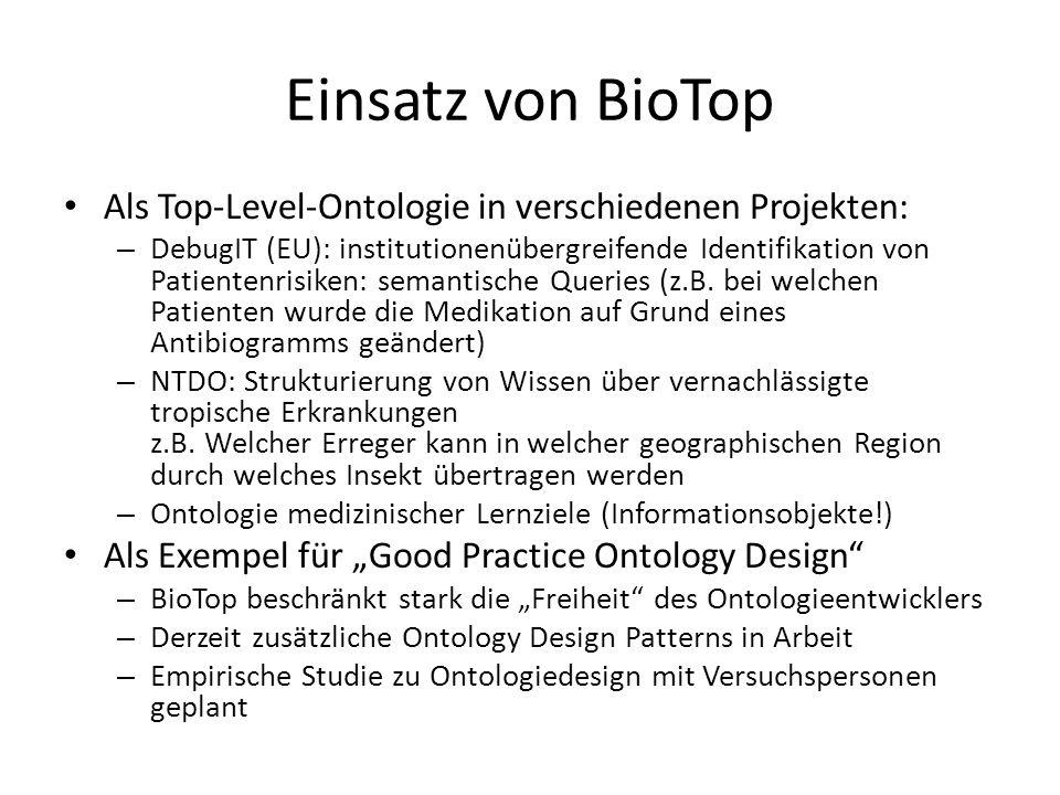 Einsatz von BioTop Als Top-Level-Ontologie in verschiedenen Projekten: – DebugIT (EU): institutionenübergreifende Identifikation von Patientenrisiken: